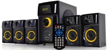 QFX QS-Disco 5.1 Channel Multimedia Bluetooth Speaker with