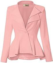 Women Double Notch Lapel Office Blazer JK43864 1073T Blush 1X