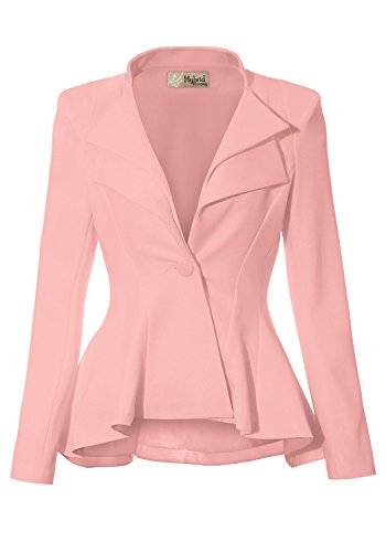 Women Double Notch Lapel Office Blazer JK43864 1073T Blush L ()