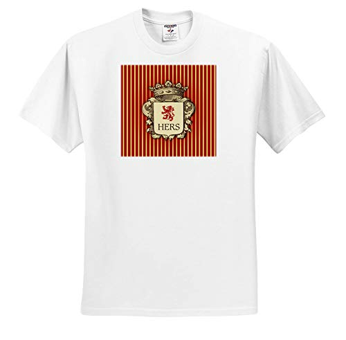 Russ Billington Designs - Aristocratic His and Hers Crest- Hers-Regency Stripe in Red and Yellow - T-Shirts - White Infant Lap-Shoulder Tee (6M) (ts_299197_66) ()