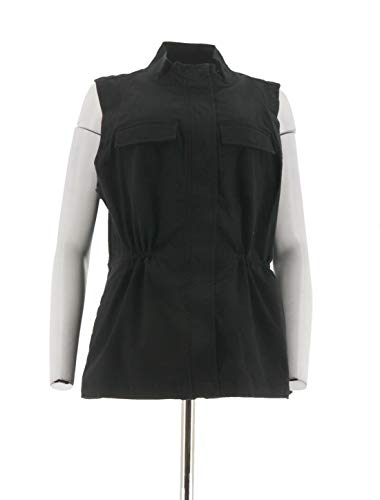 Liz Claiborne NY Relaxed Fit Stylish Four Pocket Safari Vest Black 6 NEW A262192