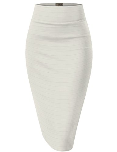 HyBrid & Company Womens Premium Stretch Office Pencil SkirtKSK45004-8012-JACQUARD-IVORY-L (Skirt Blazer)
