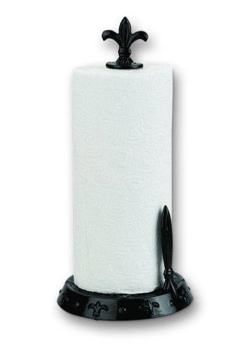 Old Dutch Jet Black Fleur de Lis Standing Paper Towel Holder (Old Dutch Paper Towel Holder)