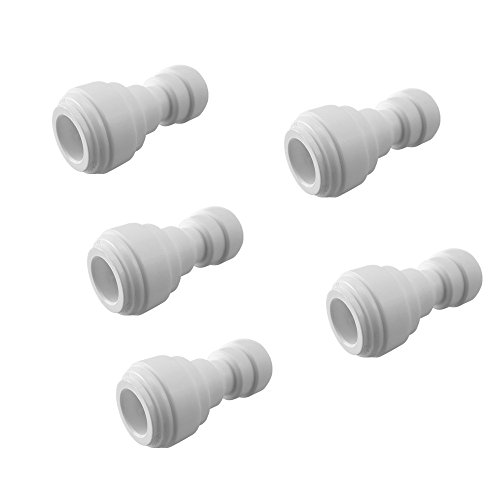 (PureSec 2019 Push to Connect 1/4-inch 3/8-inch Plastic Straight Union Quick Fittings for RODI System (5, 1/4