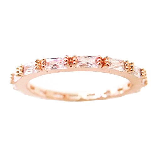 Gieschen Jewelers Aeonia 18k Rose/White Gold-Plated Baguette CZ Eternity Band