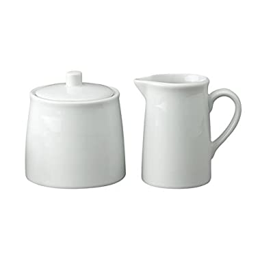 HIC Classic Porcelain Sugar and Creamer Set for Coffee and Tea, White Porcelain Pitcher and Sugar Bowl, 4-Ounce, Mini, Service for One
