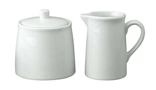 HIC Classic Porcelain Sugar and Creamer Set for Coffee and Tea, White Porcelain Pitcher and Sugar Bowl, 4-ounce, Mini, Service for One 0/103-HIC
