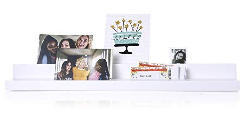 Pearhead Photo and Card Holder, Wood Picture Ledge Shelf, Cute Nursery or Dorm Room Decor, Easily Display Pictures or Ticket Stubs, White