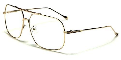 Gold Squared-Off Aviators Sport Thin Wire Rims Men Women Clear Lens - Bolt Native Sunglasses