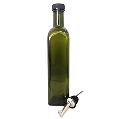 NiceBottles - Olive Oil Dispenser with Stainless Steel Flip Top Pourer, Dark Green, Square, 500ml