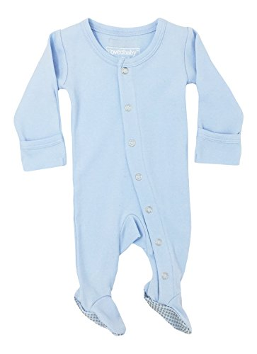 Gloved Sleeve Overall - L'ovedbaby Organic Cotton Footed Overall (0-3M, Moonbeam)
