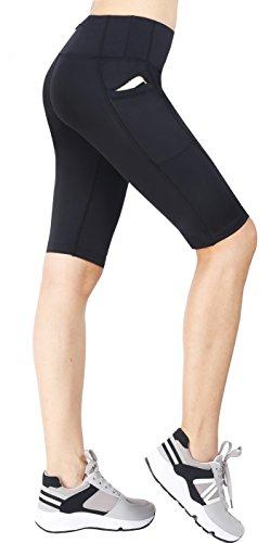 Neonysweets Womens Cycling Running Workout Tights Yoga Shorts Half Tights Black S