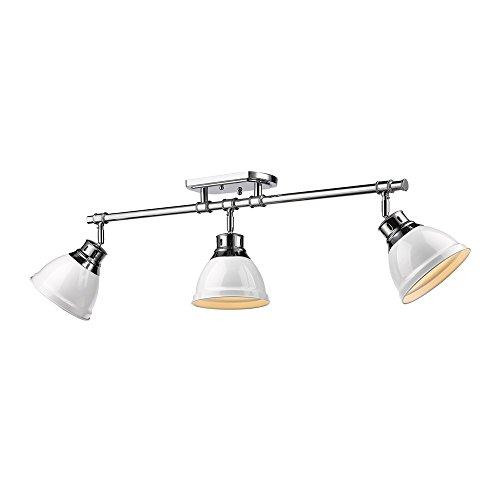 - Golden Lighting 3602-3SF CH-WH Duncan - Three Light Semi-Flush Mount, Shade Options: White Glass