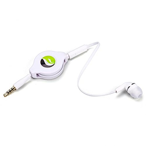 Premium Retractable Headset Mono Hands-Free Earphone Mic Single Earbud Headphone in-Ear Wired [3.5mm] White for ZTE ZMax Champ - ZTE ZPad 8 - US Cellular iPhone 6 ()