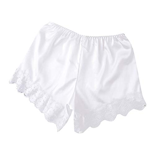 Crytech Womens Comfy Lightweight Mid Waist Stretch Under Skirt Leggings Pants Anti Chafing Loose Soft Lace Trimmed Boyshorts Sleep Underwear Boy Shorts for Girls (White)