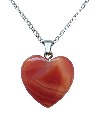 Red Carving Agate Hand (AIMITH Love Pendant Heart Shape Necklace Natural Onyx Crystal Gemstone Rock Healing Stone Chakra Jewelry 18