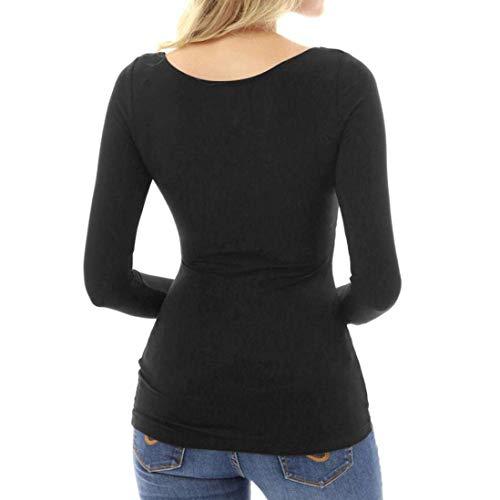 vert couleur col femmes avec Xluk à taille slim Décolleté pour carré Noir 12 Zhrui manches Cn Sexy T shirt haut longues xUqw0zc6ZC