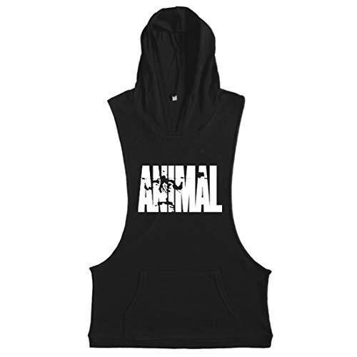 Animal Mens Clothing - YeeHoo Men's Bodybuilding Muscle Animal Vest Sleeveless Hoodie Tank Top Stringer Gym Sport Black