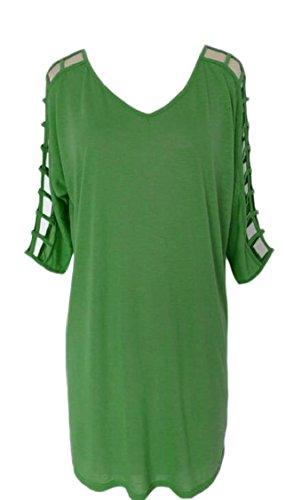 Jaycargogo Creux Mode Féminine Cou Solide Vout Partie Verte De Robe De Soirée
