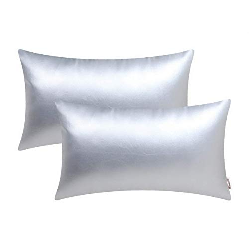 BRAWARM Cozy Bolster Pillow Covers Cases for Couch Sofa Bed Solid Faux Leather Soft Lumbar Cushion Covers Durable Pillowcase Home Decoration Accent Both Sides 12 X 20 Inches Silver Pack of 2