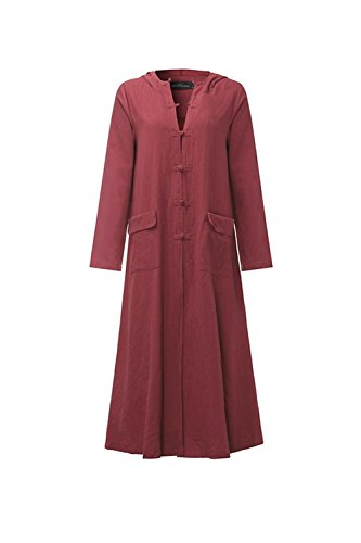 Monocolor Plus Size Long Line A Coat Red Hooded Women Hoodie Oversize qtdTtw4