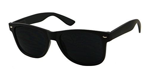 ShadyVEU - Super Dark Lens Retro Vintage Inspired 80s Spring Hinge 80's Sunglasses (Soft Matte Black Frame, 146) ()