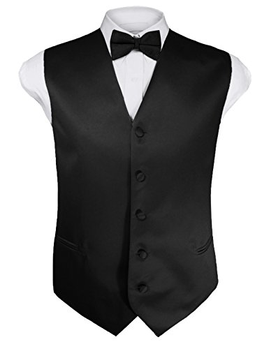 Guytalk Mens 4pc Tuxedo Vest, Bowtie, Tie, Hanky Set XXL (Microfiber Tuxedo)