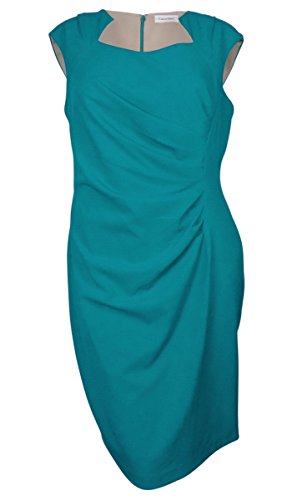 Calvin Klein Womens Plus Pleated Cap Sleeves Cocktail Dress Blue (Calvin Klein Pleated Dress)