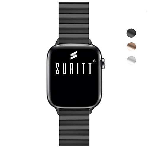 Suritt ® Correa para Apple Watch de eslabones Fabricada en Acero Inoxidable Berlin (Negro – Plata – Oro)(Series 1, 2, 3…