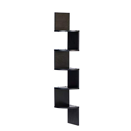 (Danya B. XF11035BK Large Decorative 5-Tier Corner Floating Wall Mount Display Shelving Unit - Black)