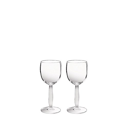 - Lalique Crystal Diamond Wine Glass Set Of 2
