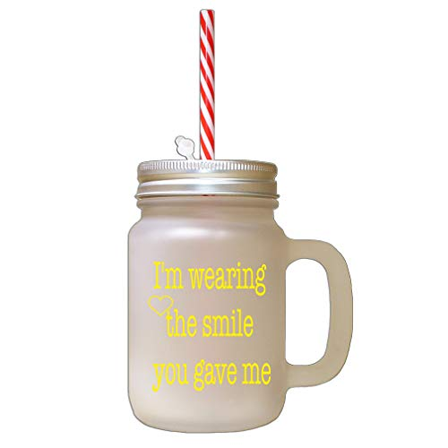 Style In Print Yellow I Love You More Than My Phone Frosted Glass Mason Jar with Straw