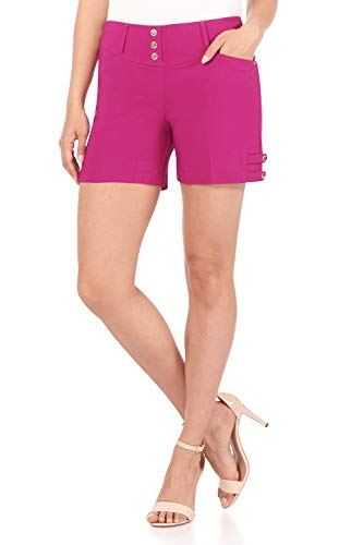 Rekucci Women's Ease Into Comfort Stretchable Pull-On 5 inch Slimming Tab Short (18,Fuchsia)