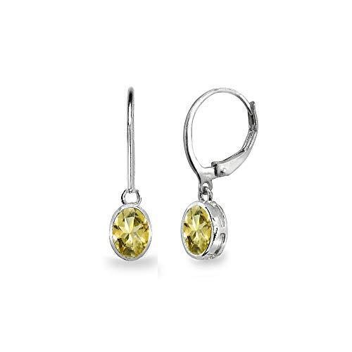 - Sterling Silver Citrine 7x5mm Oval Bezel-Set Dainty Dangle Leverback Earrings for Women, Teen Girls