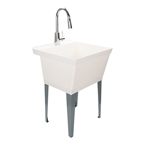 Laundry Sink Utility Tub With High Arc Chrome Kitchen Faucet By MAYA - Pull Down Sprayer Spout, Heavy Duty Sinks With Installation Kit for Washing Room, Workshop, Basement, Garage, Slop Sink, Mudroom