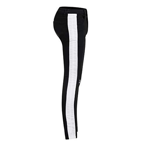 Trou Cassé Homme Pantalon Yebiral Casual Taille Serrage De Noir Couleur Cordon Elastique Unie Sport c4IU4qR