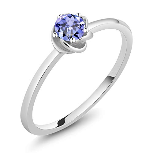 Gem Stone King 10K White Gold 0.18 Ct Round Blue Tanzanite Solitaire Engagement Ring (Size 6)