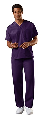 Cherokee Workwear Authentic Unisex V-Neck Top 4777 & Straight Leg Drawstring Pant 4100 Scrub Set (New Eggplant - X-Large/Large)