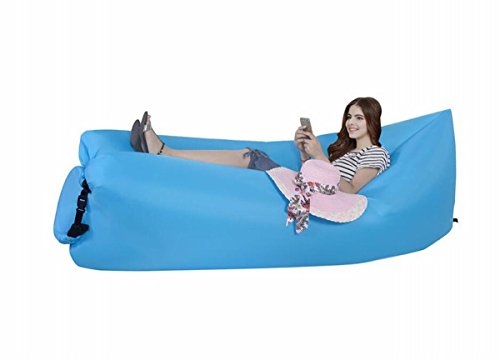 Gracefur Inflatable Lounger Air Sofa Couch for Camping&Hiking & Swimming pool (outdoor&indoor), Portable and Lightweight blue (Bag Storage Towable)
