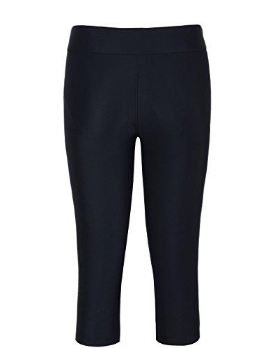 Hilor Women's UV Rash Guard Pants Crop Swim Leggings Sports Capri Tights 14 Black 1 by Hilor (Image #2)