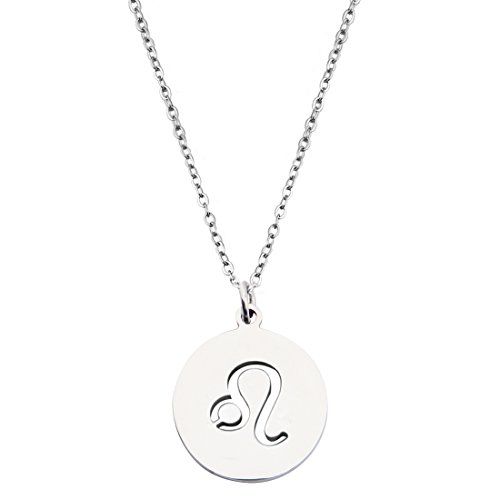 KUIYAI Zodiac Signs Cut Out Stainless Steel Disc Necklace (Leo)