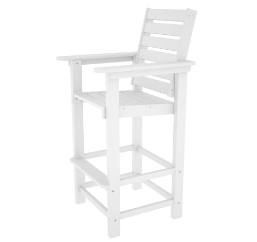 POLYWOOD CCB30WH Captain Bar Chair, White