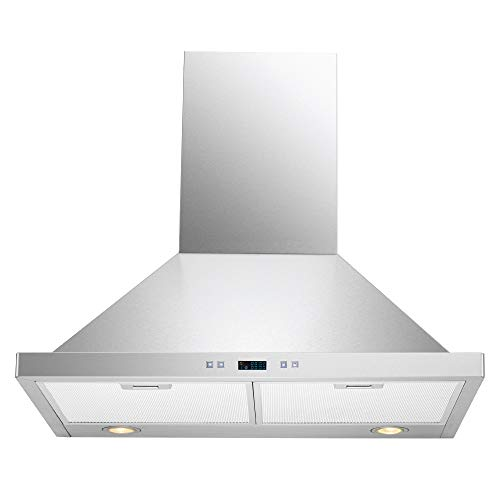 DKB 30″ Inch Wall Mounted Range Hood Brushed Stainless Steel With Halogen Lights 600 CFM
