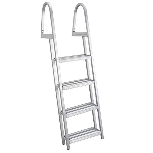 RecPro Marine Pontoon Boat Dock Heavy Duty Aluminum 4 Step Removable Boarding Ladder ()