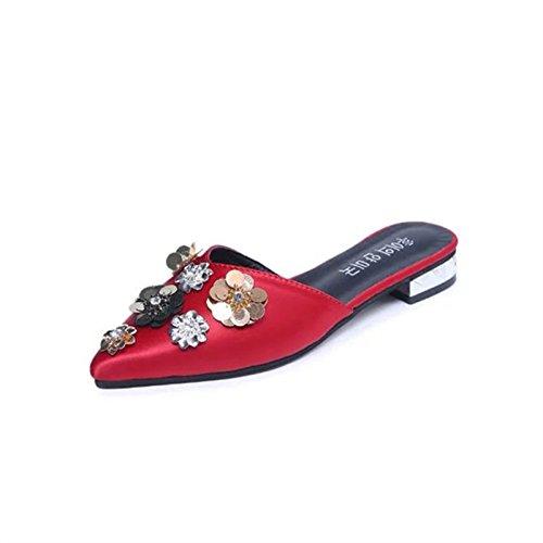 zapatillas mujer de primavera Thirty zapatillas Donyyyy simple Zapatos bordadas six mitad zapatos y la mujer de verano de perezoso qCtawx85