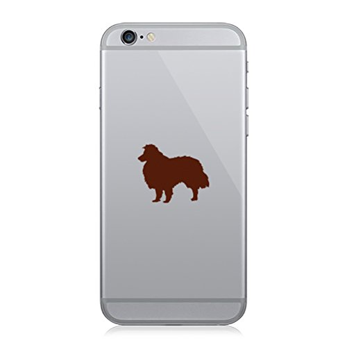 RDW Pair of Shetland Sheepdog Cell Phone Stickers Mobile dog canine pet - Brown
