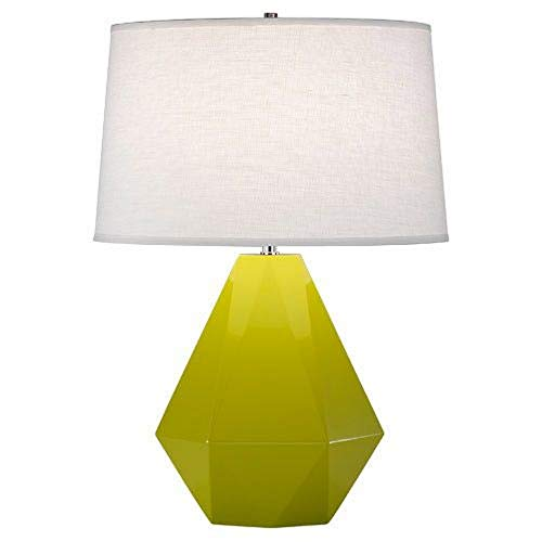 Oyster Linen Shade - Robert Abbey 935 Delta - One Light Table Lamp, Apple Glazed/Polished Nickel Finish with Oyster Linen Shade