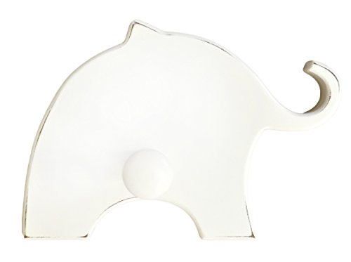 White Wooden Elephant Wall Peg