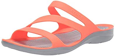 Crocs Women's Swiftwater Sandal, Bright Coral/Light Grey, W4
