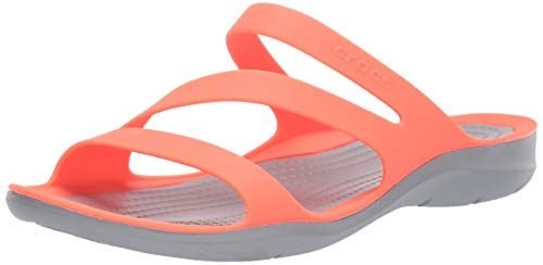 - Crocs Women's Swiftwater Sandal Slide, Bright Coral/Light Grey, 8 M US